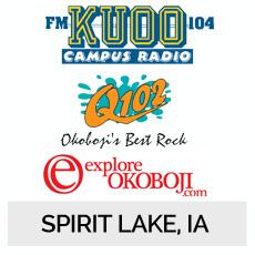 KUOO104 Campus Radio, Q102 Okoboji's Best Rock, ExploreOkoboji.com Spirit Lake, IA